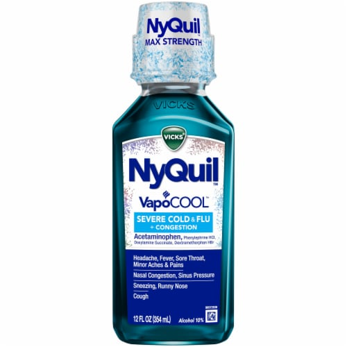 Vicks NyQuil VapoCOOL SEVERE Cold Flu and Congestion Medicine Menthol Flavor Liquid Perspective: front