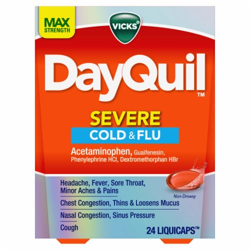 Vicks DayQuil SEVERE Cold Flu & Congestion Multi-symptom Relief Medicine Maximum Strength Liquicaps Perspective: front