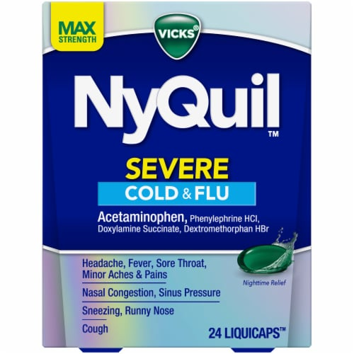 Vicks NyQuil SEVERE Cold Flu and Congestion Multi-symptom Relief Medicine Maximum Strength Liquicaps Perspective: front