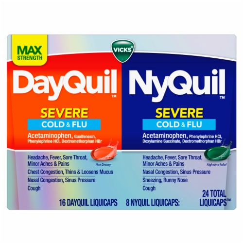 Vicks DayQuil and NyQuil SEVERE Cold Flu & Congestion Multi-symptom Relief Medicine LiquiCaps Perspective: front