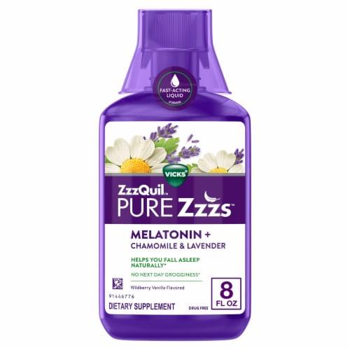 Vicks ZzzQuil Pure Zzzs Chamomile & Lavender Liquid Melatonin Perspective: front