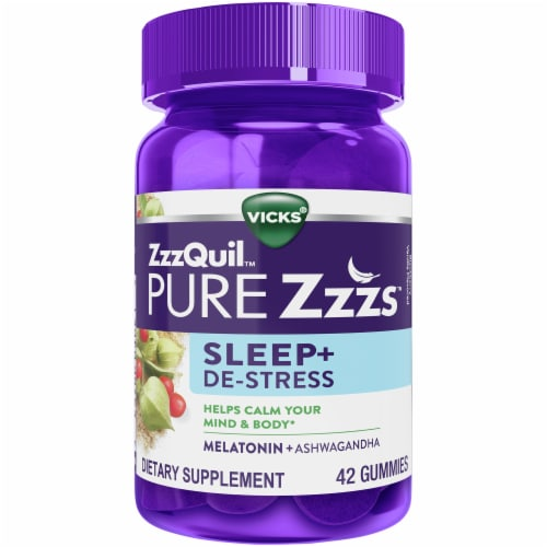 Vicks ZzzQuil PURE Zzzs Sleep + De-Stress Melatonin Gummies 1mg Perspective: front