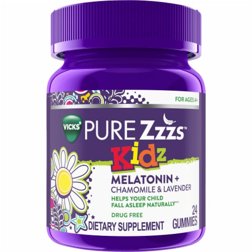 Vicks Pure Zzzs Kidz Berry Flavored Melatonin Gummies Perspective: front