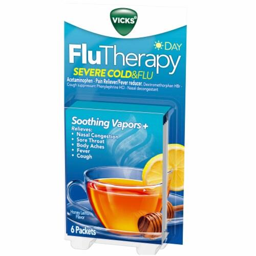 Vicks Day FluTherapy Severe Cold & Flu Honey Lemon Flavor Hot Drink Packets Perspective: front