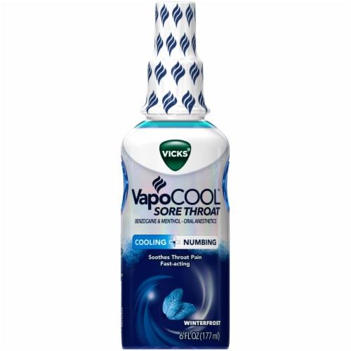 Vicks VapoCool Fast-Acting Sore Throat Spray Winterfrost Perspective: front