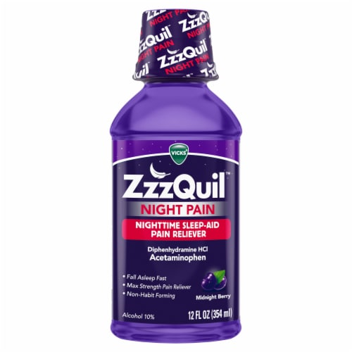 Vicks ZzzQuil Night Pain Midnight Berry Flavor Nighttime Sleep-Aid Pain Reliever Perspective: front