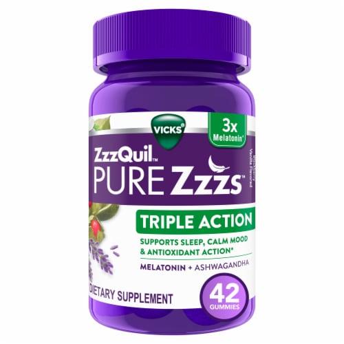Vicks Pure Zzzs Triple Action Melatonin + Ashwagandha Gummies Perspective: front