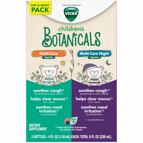 Vicks Children's Botanicals Day & Night Gluten-Free Dye-Free Kids' Berry Flavor Ages 1+ Cough Syrup Perspective: front