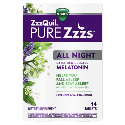 Vicks Pure Zzzs All Night Lavender & Valerian Root Melatonin Tablets Perspective: front