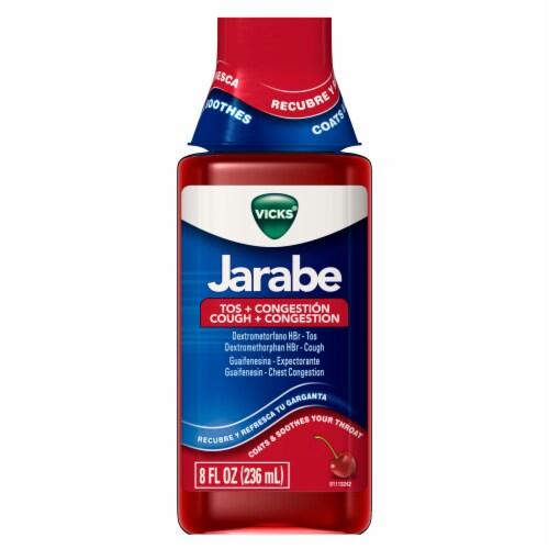 Vicks Jarabe Cherry Flavor Cough + Congestion Relief Liquid Perspective: front