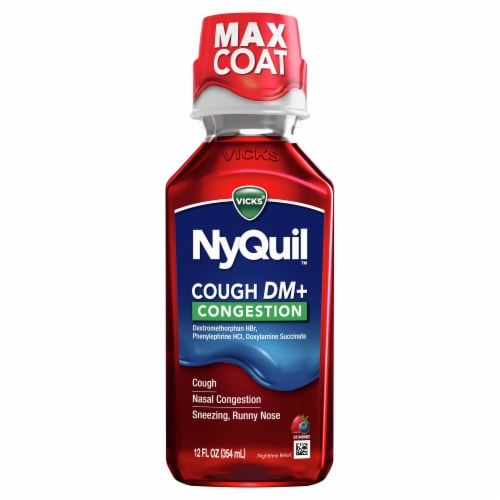 Vicks NyQuil Cough DM & Congestion Multi-symptom Relief Nighttime Medicine Liquid Perspective: front
