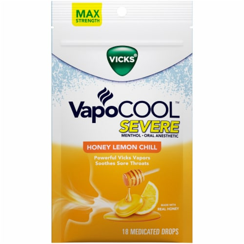 Vicks VapoCOOL Severe Honey Lemon Chill Medicated Drops Perspective: front