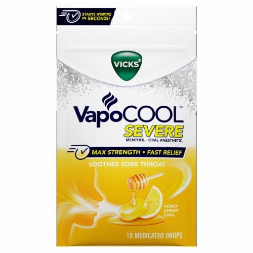 Vicks VapoCOOL SEVEREHoney Lemon Medicated Lozenges Cough Drops Perspective: front