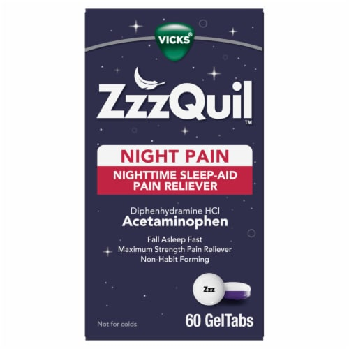 Vicks ZzzQuil Nighttime Pain Relief Sleep Aid GelTabs Perspective: front