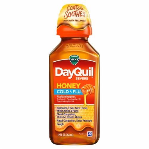 Vicks Dayquil Severe Honey Cold & Flu Multi-Symptom Non-Drowsy Liquid Perspective: front