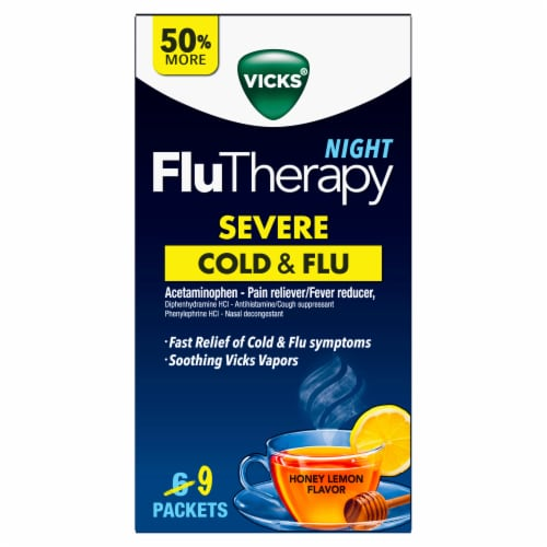 Vicks Night FluTherapy Honey Lemon Flavor Severe Cold and Flu Drink Packets Perspective: front