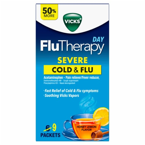 Vicks Day FluTherapy Honey Lemon Flavor Severe Cold and Flu Hot Drink Perspective: front