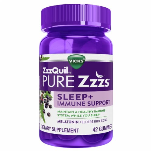 Vicks ZzzQuil Pure Zzz's Sleep + Immune Support Gummies Perspective: front