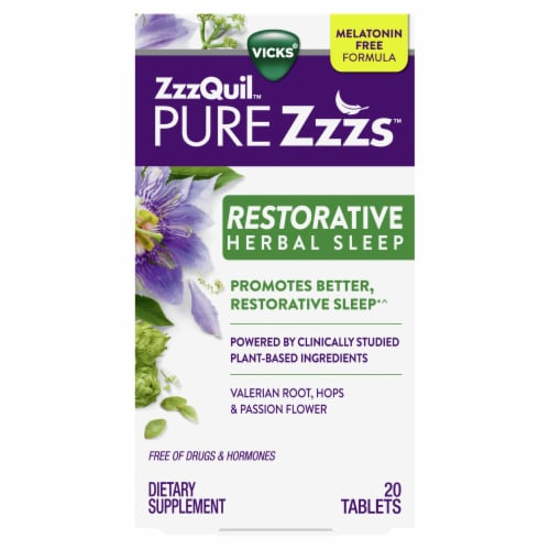 Vicks ZzzQuil Pure Zzz's Restorative Herbal Sleep Tablets Perspective: front