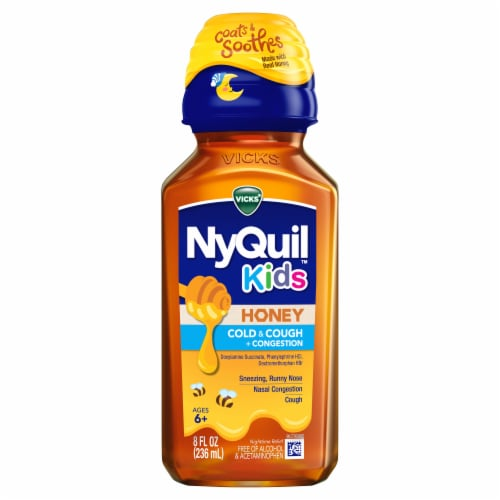 NyQuil Kids Honey Cold & Cough + Congestion Nighttime Relief Liquid Perspective: front