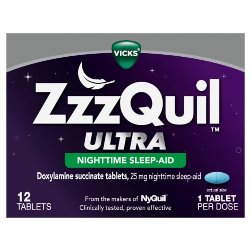 Vicks ZzzQuil Ultra Doxylamine Succinate Nighttime Sleep Aid Tablets 25mg Perspective: front
