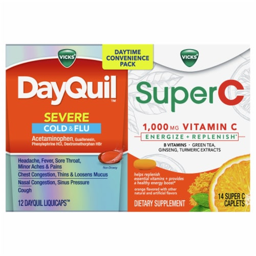 Vicks® DayQuil™ & SuperC Cold & Flu Multi-Symptom Relief Liquicaps/Caplets Perspective: front