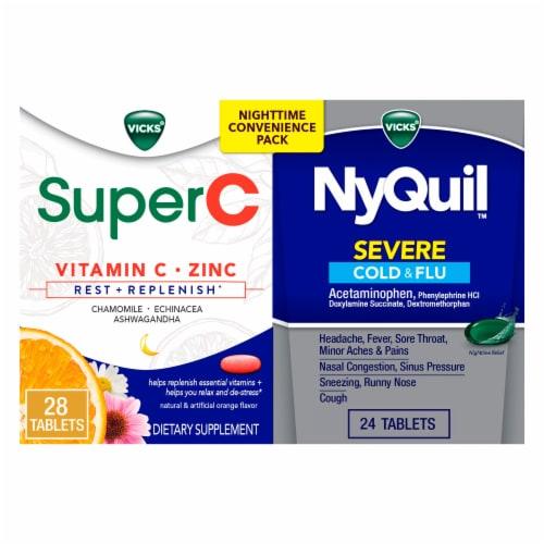 Vicks® NyQuil™ & SuperC Cold & Flu Multi-Symptom Relief Caplets/Liquicaps Perspective: front