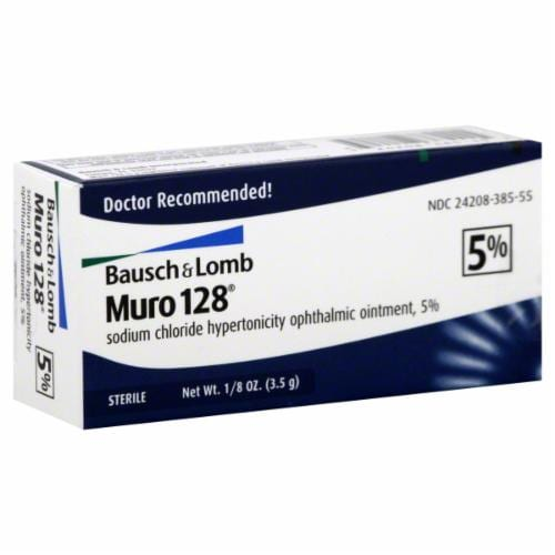 Basuch & Lomb Muro 128 5% Sodium Chloride Ophthalmic Ointment Perspective: front