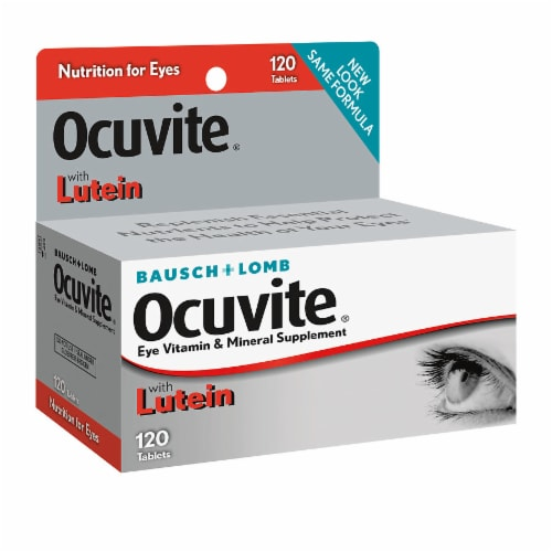 Ocuvite with Lutein Bausch + Lomb Eye Vitamin & Mineral Supplement Perspective: front