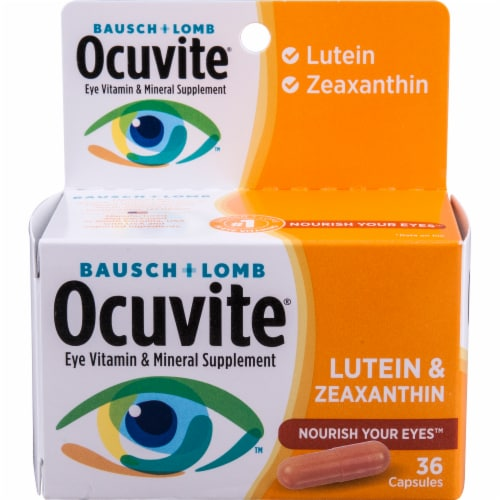 Ocuvite Lutein & Zeaxanthin Eye Vitamin & Mineral Supplement Capsules Perspective: front