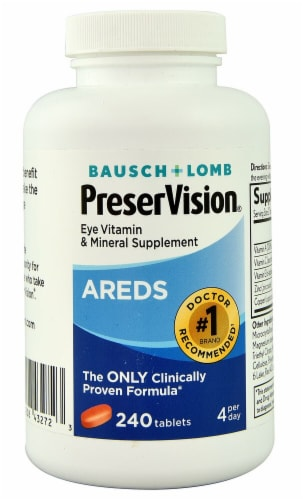 Bausch & Lomb PreserVision AREDS Eye Vitamin & Mineral Supplement Tablets 240 Count Perspective: front