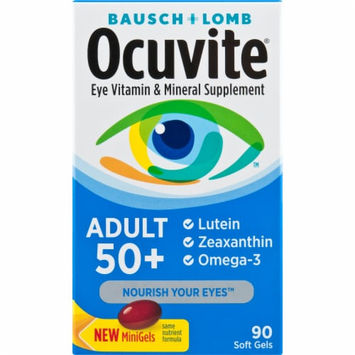 Ocuvite Adult 50+ Eye Vitamin & Mineral Supplement Mini Gels Perspective: front
