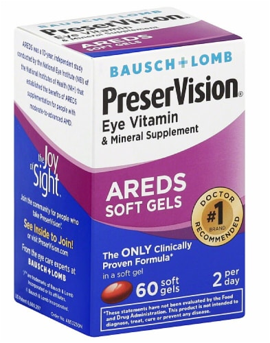 Bausch & Lomb PreserVision Eye Vitamin and Mineral Supplement AREDS Softgels Perspective: front