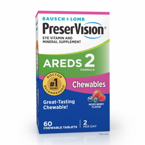 Bausch & Lomb PreserVision Areds 2 Mixed Berry Flavor Supplement Chewables Perspective: front