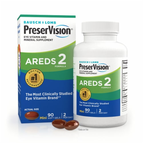 Bausch & Lomb PreserVision Eye Vitamin & Mineral Supplement Areds 2 Formula Soft Gels Perspective: front