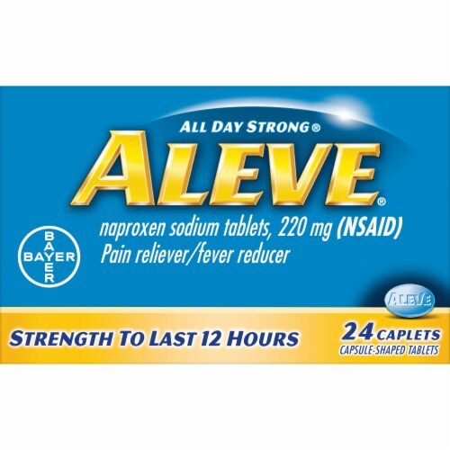 Aleve Naproxen Sodium Pain Reliever/Fever Reducer 220mg Caplets Perspective: front