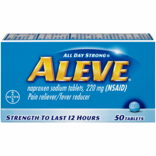 Aleve Naproxen Sodium Pain Reliever/Fever Reducer Tablets 220mg Perspective: front