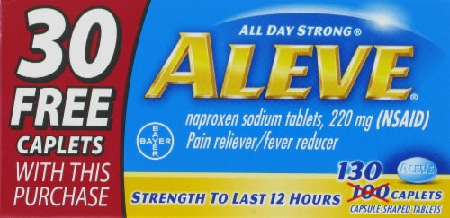Aleve Pain Reliever & Fever Reducer Caplets 200mg Perspective: front