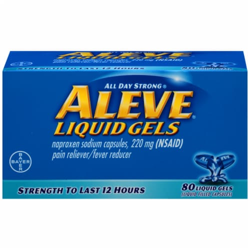 Aleve Naproxen Sodium Liquid Gels 220mg Perspective: front