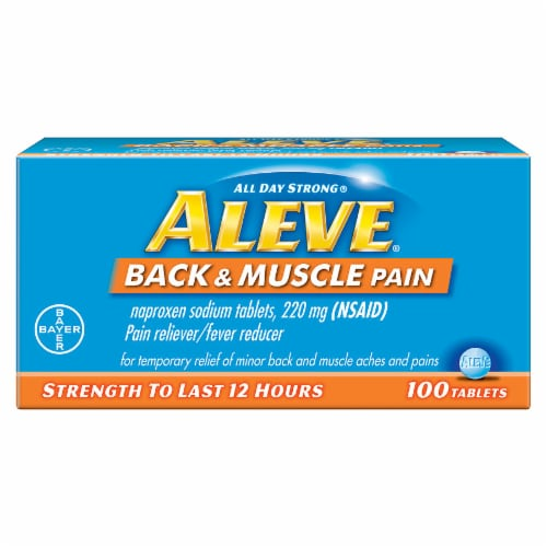 Aleve All Day Strong Back & Muscle Pain Relief Tablets 100 Count Perspective: front