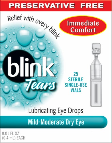 Blink Tears Preservative Free Lubricating Eye Drops 25 Count Perspective: front
