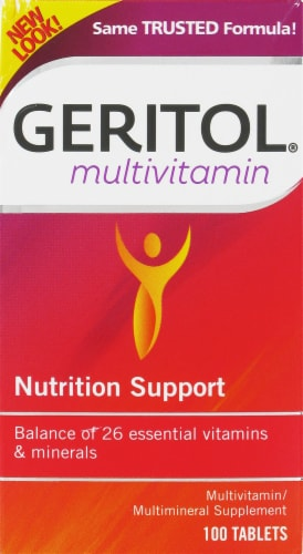 Geritol Complete Multivitamin Nutrition Support Tablets 100 Count Perspective: front
