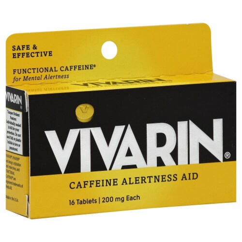 Vivarin Caffeine Alertness Aid Tablets 200mg 16 Count Perspective: front