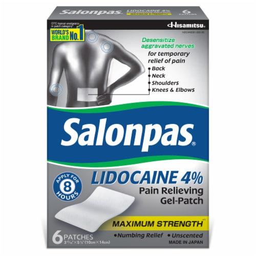 Salonpas Lidocaine Pain Relieving Gel Patch Perspective: front