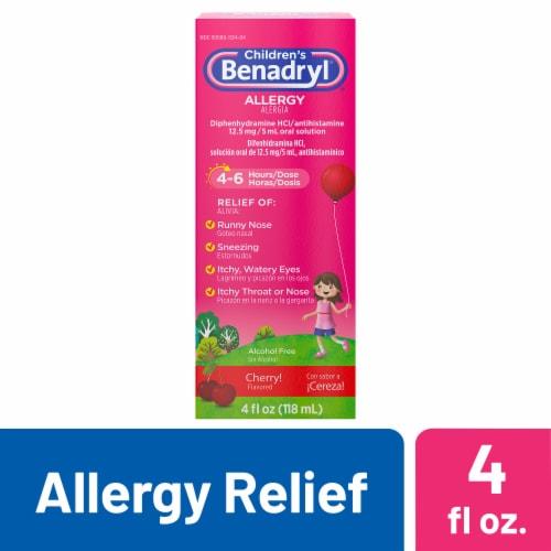 Benadryl Children's Allergy Relief Cherry Liquid 12.5 mg Perspective: front