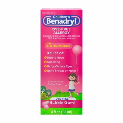 Children's Benadryl Bubble Gum Dye-Free Allergy Liquid Perspective: front