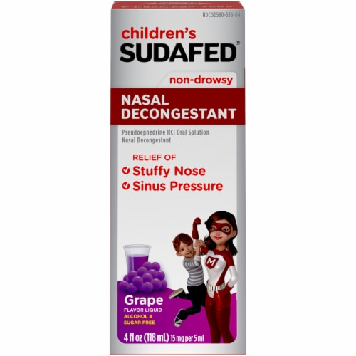 Children's Sudafed Non-Drowsy Nasal Decongestant Grape Flavored Liquid Perspective: front
