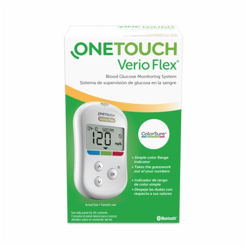 OneTouch Verio Flex Blood Glucose Monitoring Meter - White Perspective: front