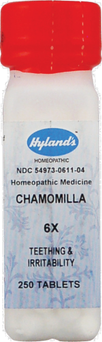 Hyland's Homeopathic Chamomilla 6x Teething & Irritability Tablets Perspective: front