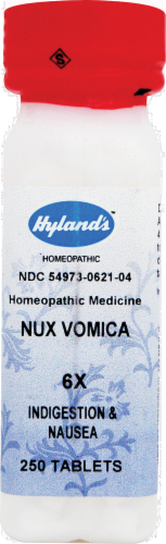 Hyland's Nux Vomica 6x Indigestion & Nausea Tablets Perspective: front
